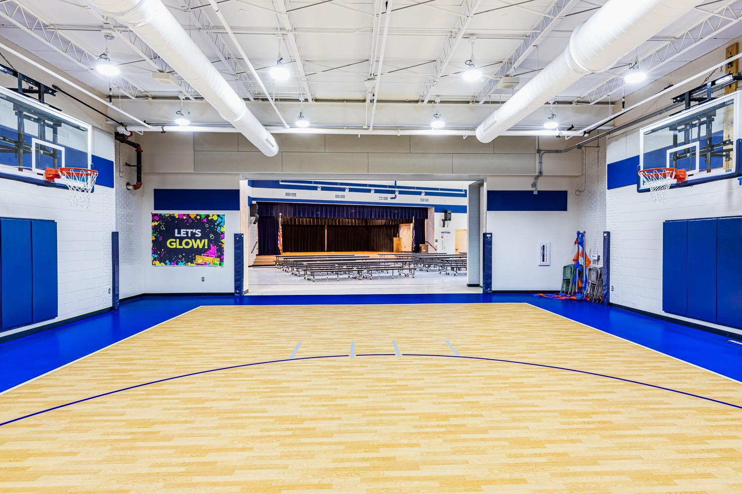 View of New Gym with Cafetorium and Stage in the background