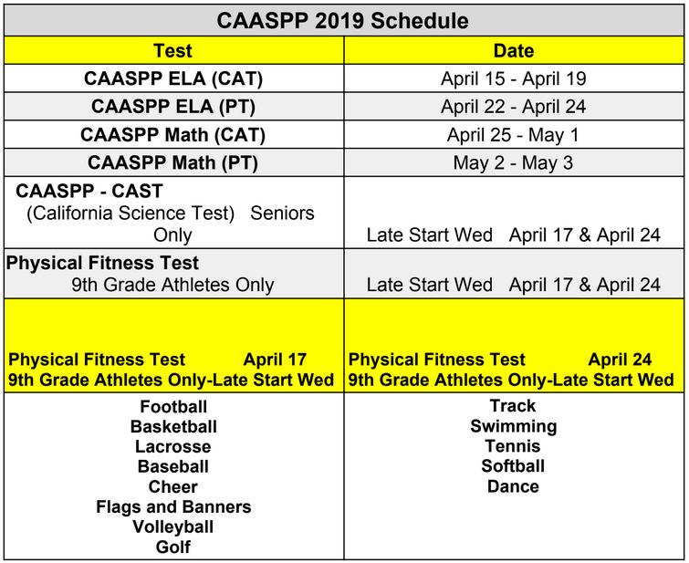 CAASP Schedule