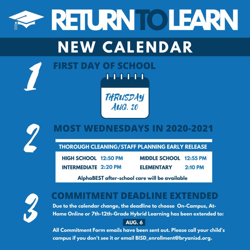2020-2021 School Calendar Changes