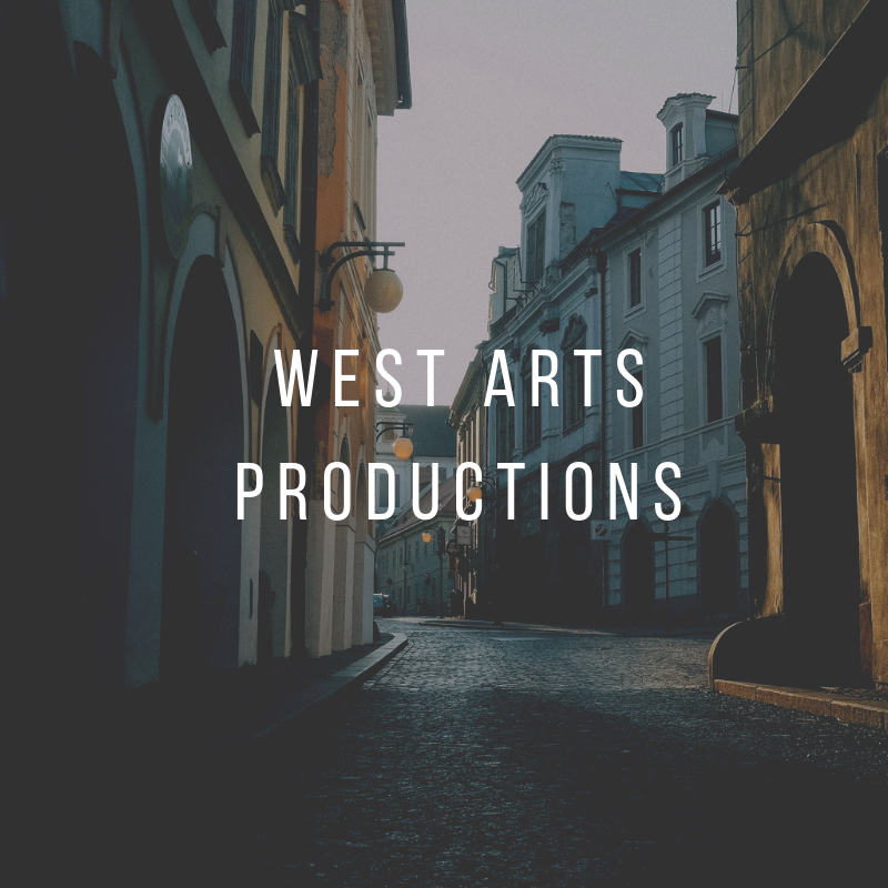 picture of scene similar to venice italy with West arts productions written in bold white letters
