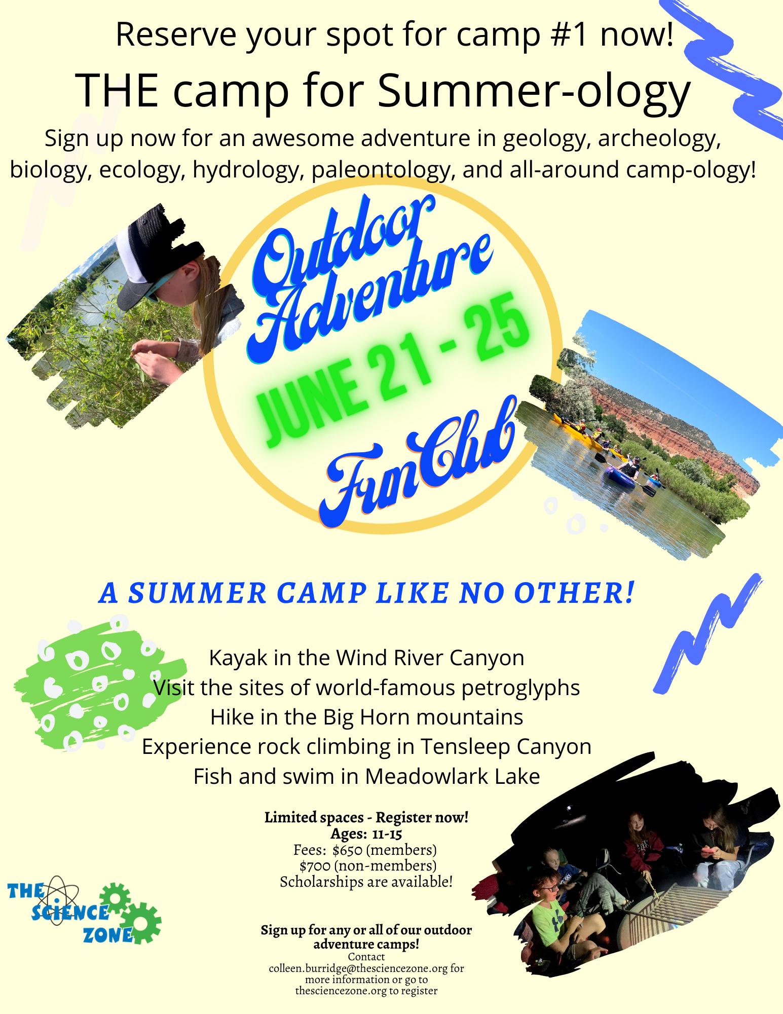 The Science Zone Outdoor Adventure Fun Club flyer