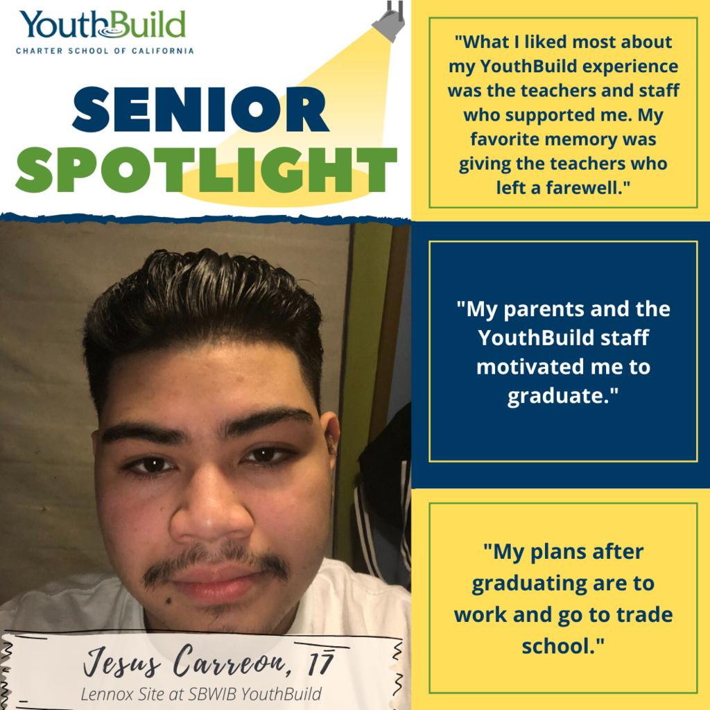 Senior Spotlight for graduate Jesus Carreon