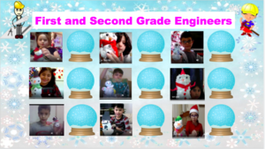 Students holding snowmen projects collage