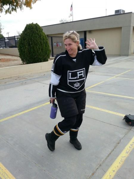 Mrs. Cartmell in costume as Hockey Player
