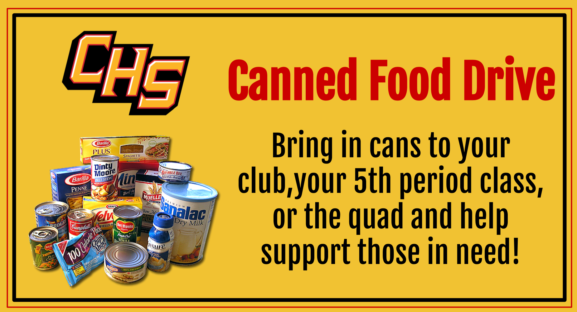 Canned Food Drive going on now
