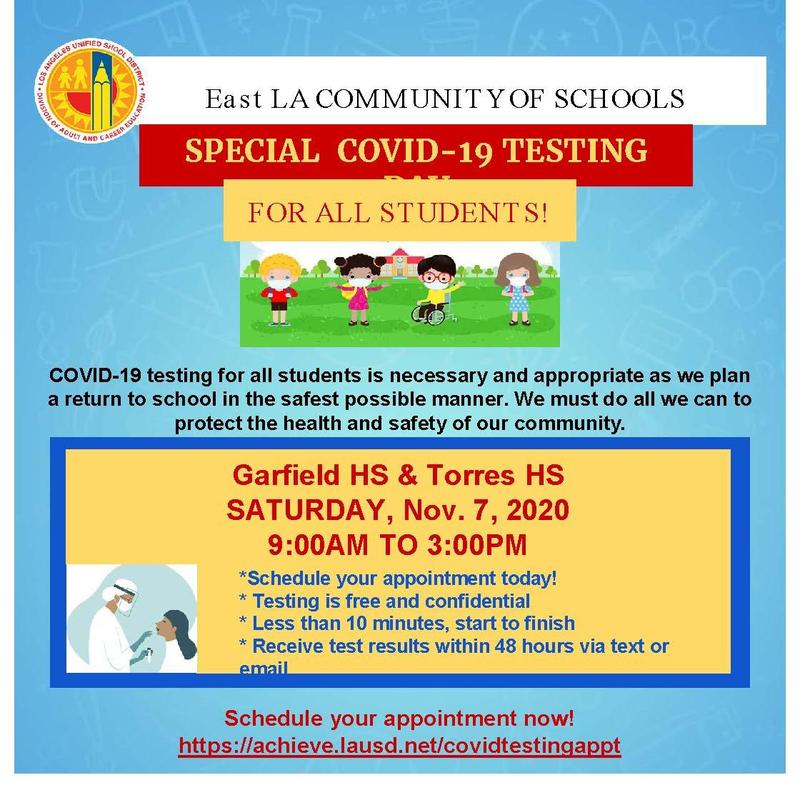 SPECIAL COVID-19 TESTING FOR ALL STUDENTS Featured Photo