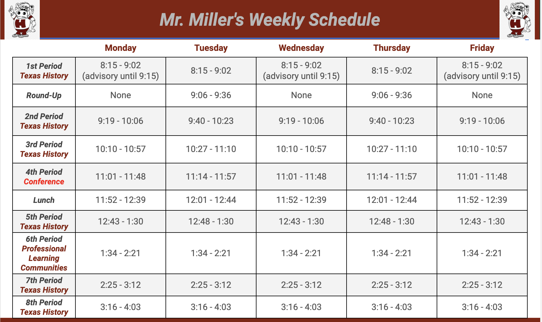 Mr. Miller's Schedule