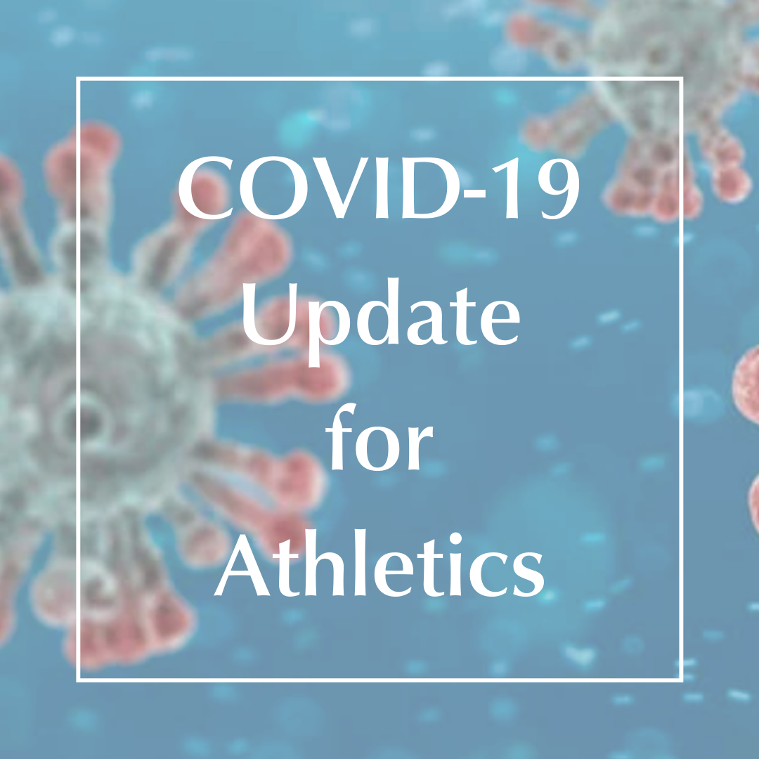 covid-19 cell image with alert of athletic contests being canceled