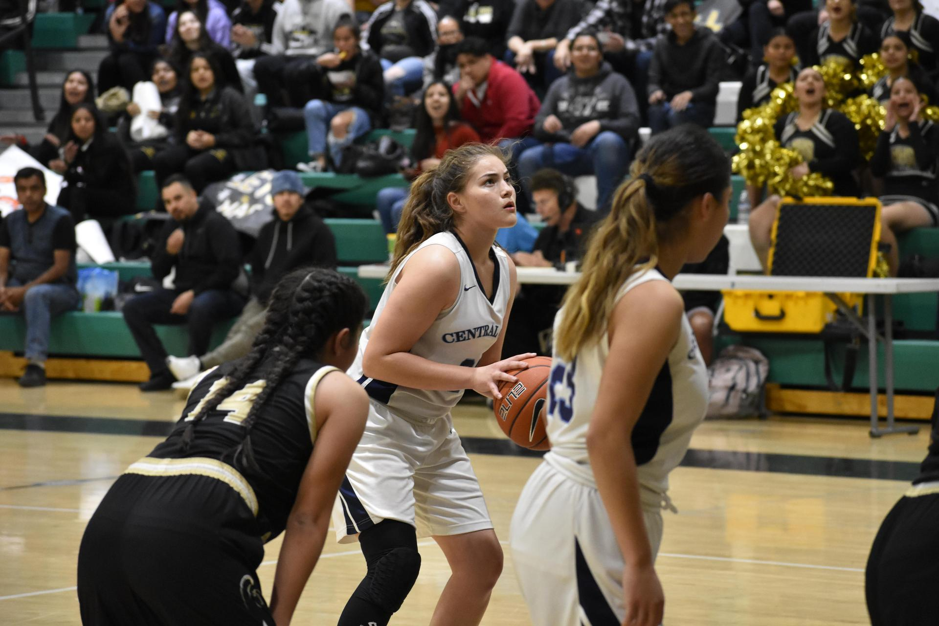 Jaguars Center Alix Dominguez takes a free throw in the CIF Los Angeles City Section Division III Finals vs Marquez