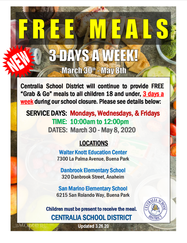 "FREE ""Grab & Go"" Meals During Our School Closure"