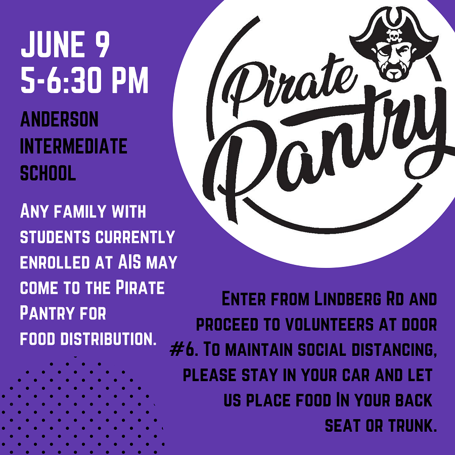 Pirate Pantry, June 2020, with instructions for food pick up