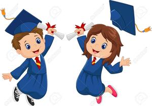 two kids in cap and gown jumping in air with diplomas
