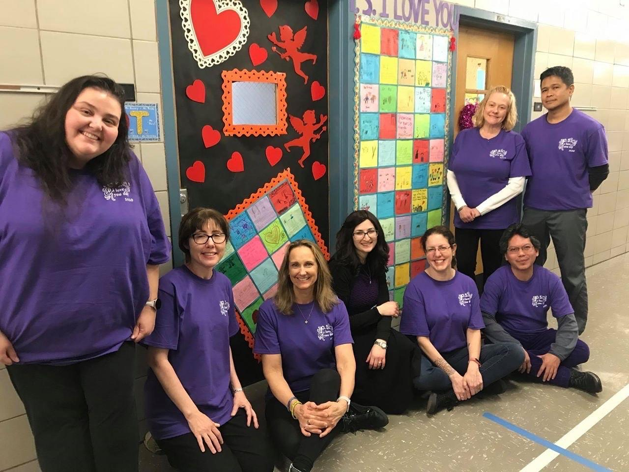 Teachers dressed in purple for PS I Love You Day