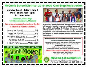 McComb School District One-Stop Registration News 2019-2020