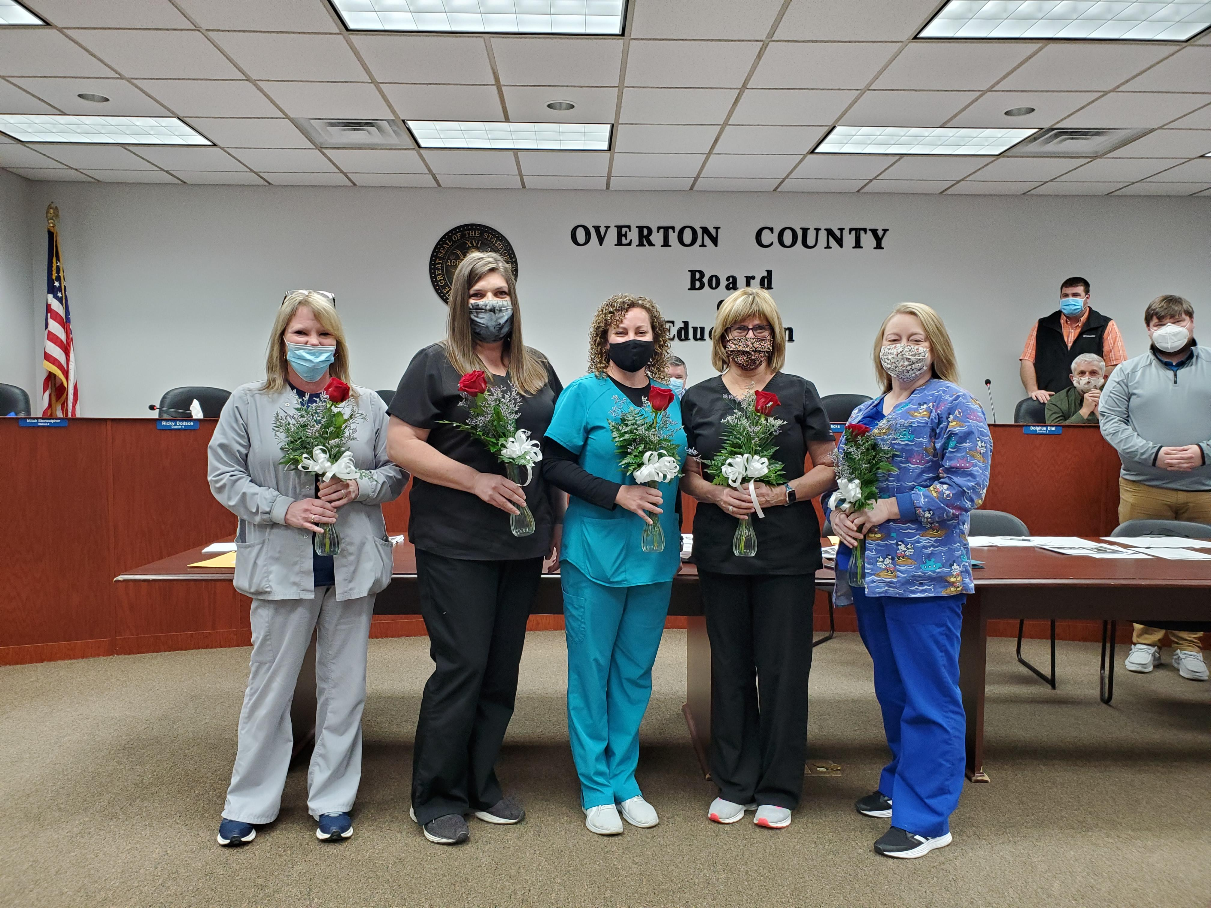 Overton County School Nurses from left to right:  Rhonda Smith, Rebecca Gunnels, Marcie Matthews, Cindy Sells, and Tammy Nimmo