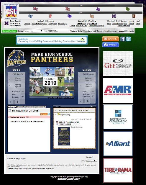 An image of the Greater Spokane League athletics webpage is shown here. The Mead Panther page is selected.