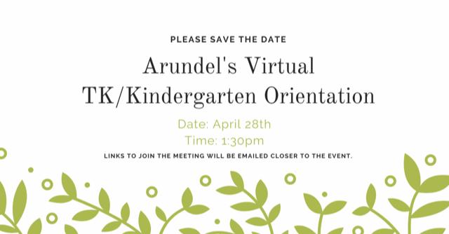 Virtual TK/Kindergarten Orientation Save the Date Featured Photo