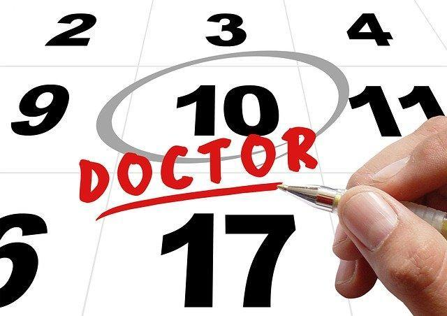 Doctor appointment circled on calendar