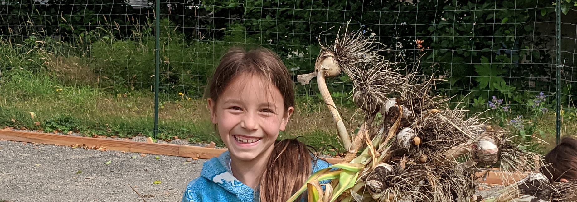 smiling garlic harvest