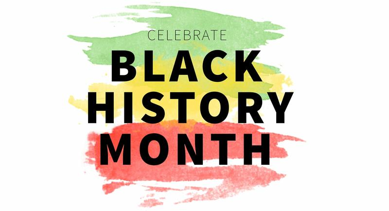 The words Black History Month, in front of colorful paint strokes