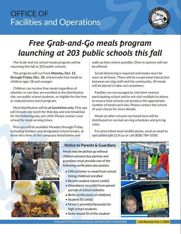 Free Grab-and-Go meals program launching at Hilo High School this fall Featured Photo
