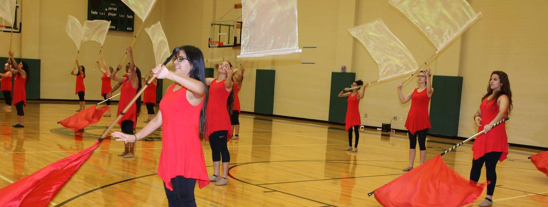 color guard performs