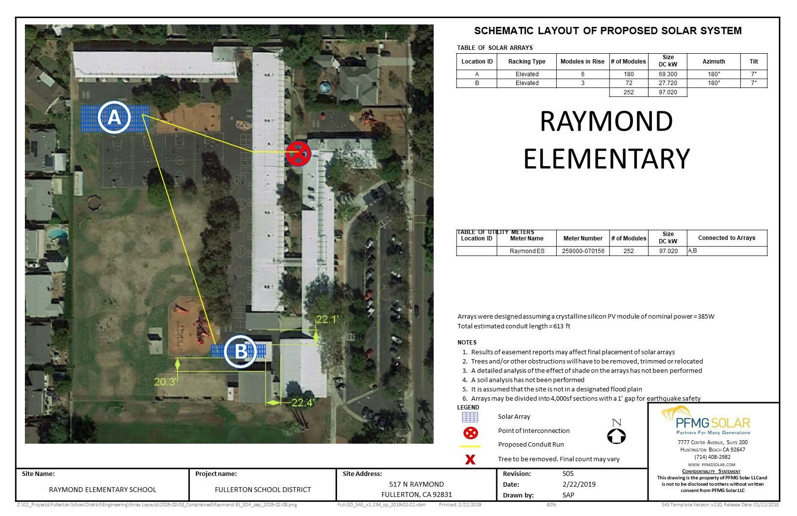 Raymond Elementary Schematic Layout of Proposed Solar System