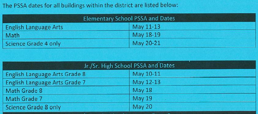 PSSA 2021 Dates