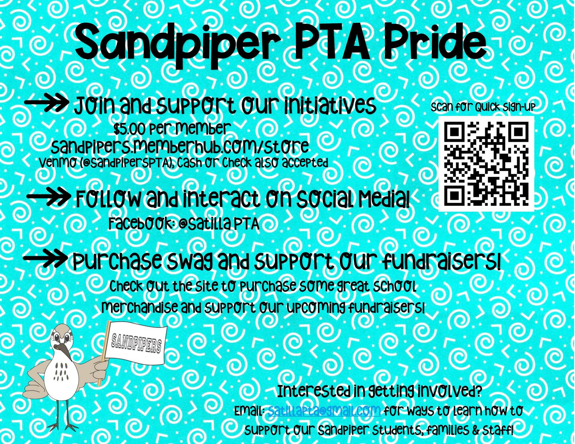 sandpiper pta pride information with blue background and black text