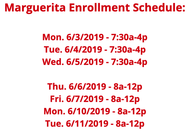 Marguerita Enrollment Schedule Featured Photo