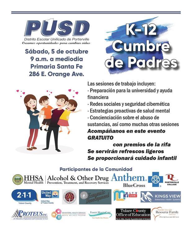 PDF Spanish Flyer of PUSD Parent Summit