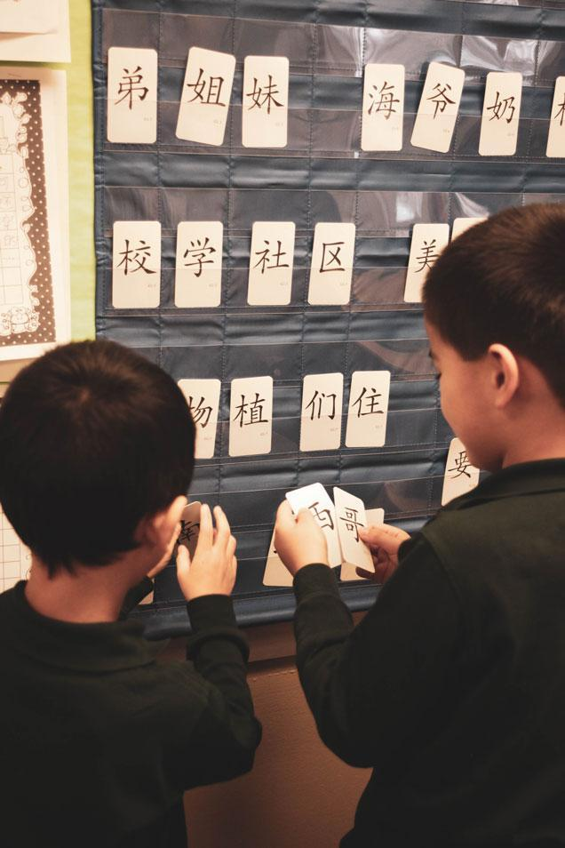 HWIS students group Mandarin characters on cards by theme