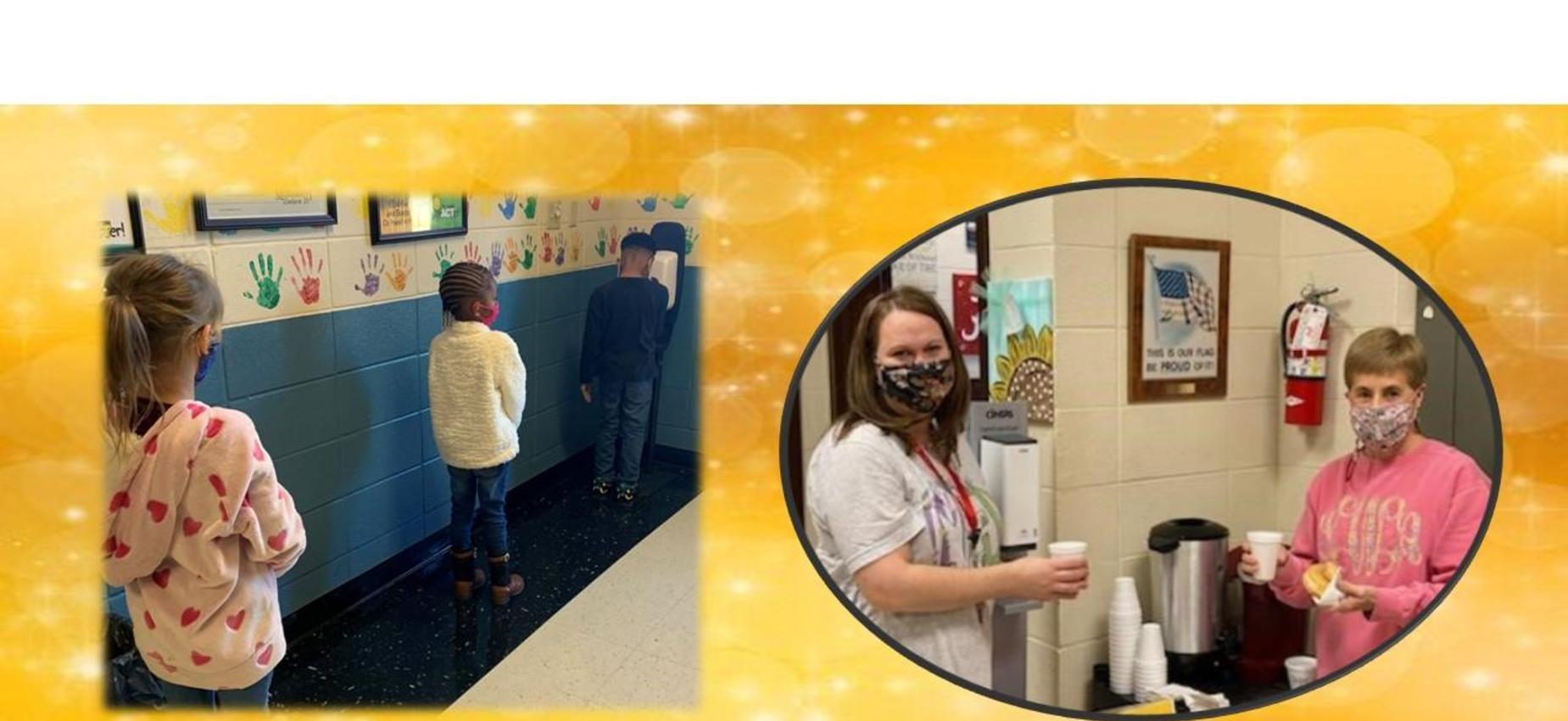 Germ-x station and teachers enjoying whimsical Wednesday.
