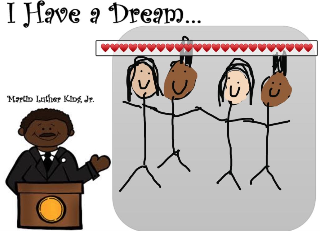 black and white children, MLK speaking