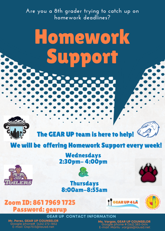 Gear Up Homework Support (Apoyo con la tarea) Wednesdays 2:30-4pm Thursdays 8am-8:55am Featured Photo