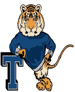 cartoon tiger leaning on a capital T