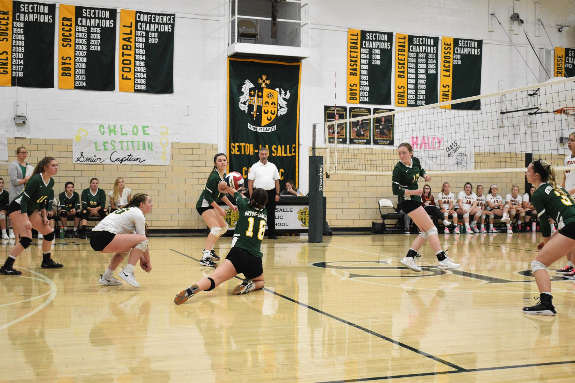 Girls Volleyball action shot