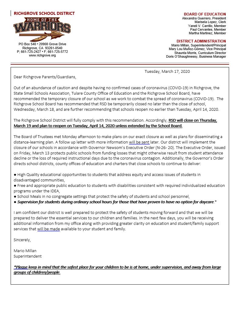 School Closure Eng 3.18.20