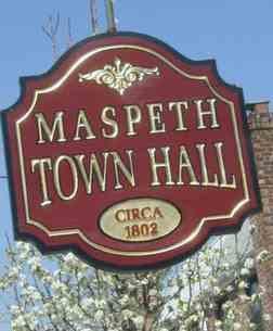 Maspeth Town Hall hanging plaque