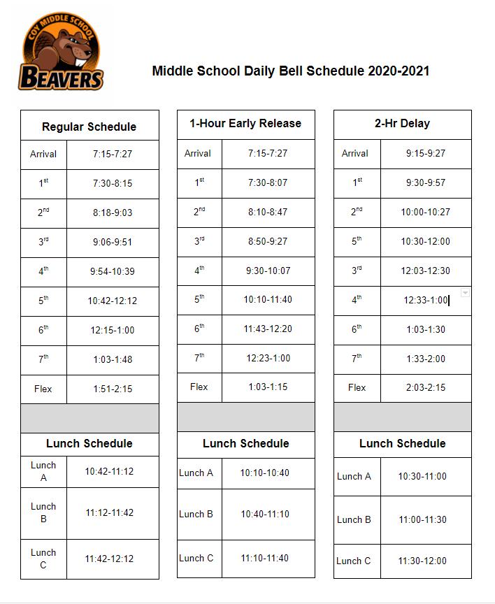 CMS Bell Schedule 2020-2021