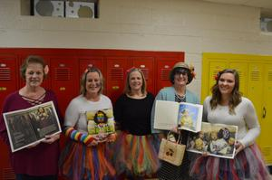 Teachers dressed as book characters.