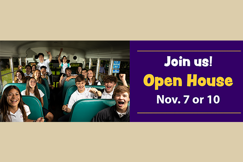 image with Open House dates and photo of students on school bus