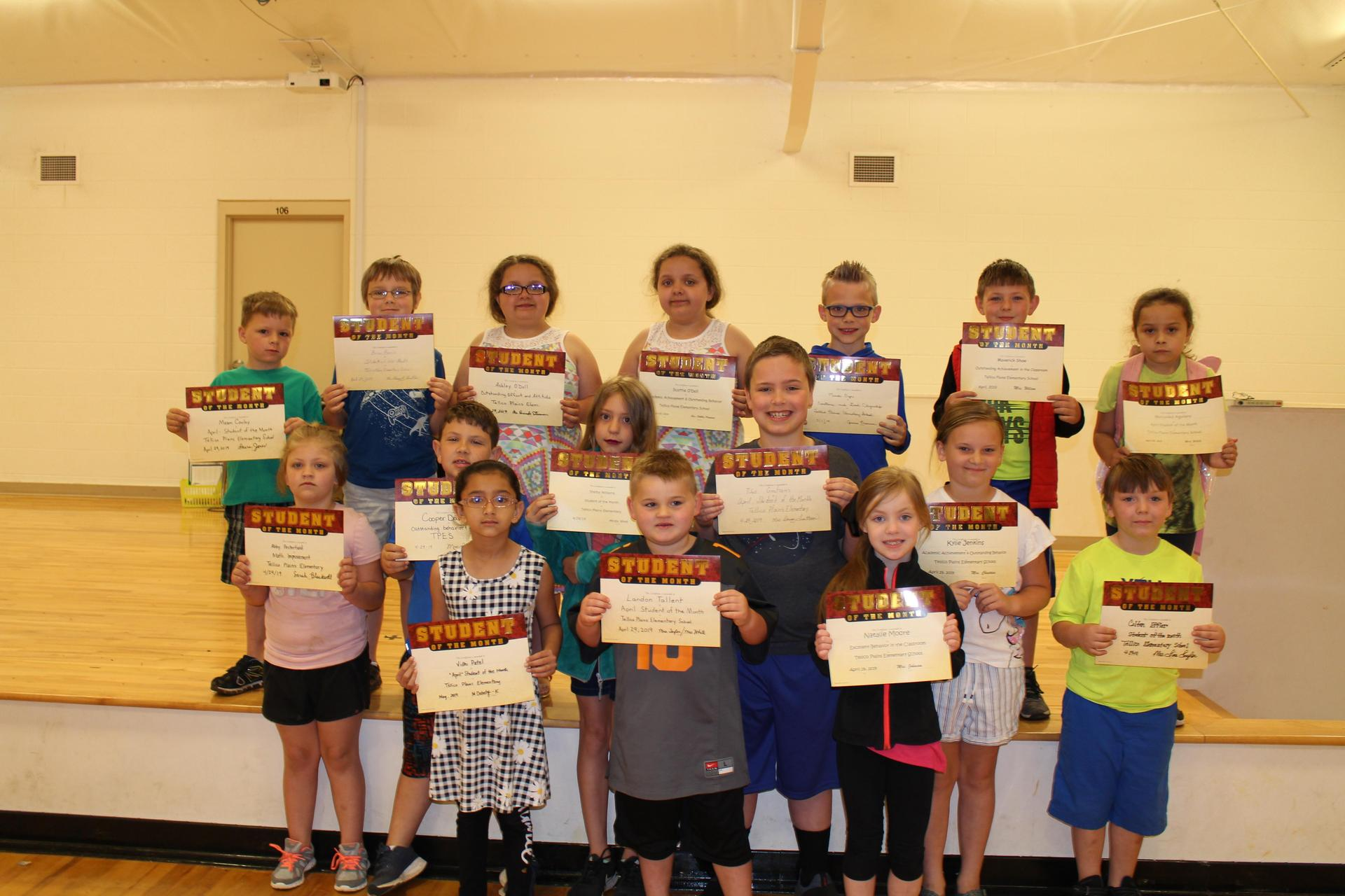 Picture of students who received the April 2019 Student of the Month Award