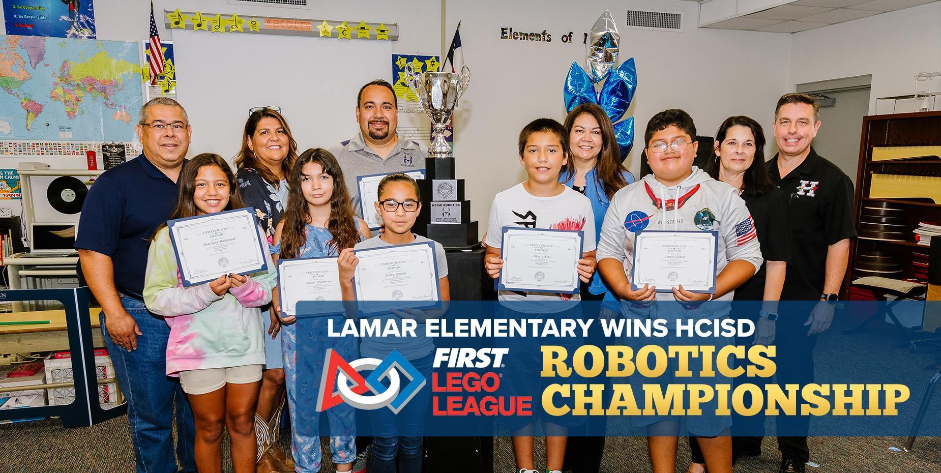 Lamar Elementary wins HCISD FLL Robotics Championship