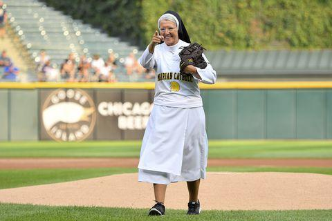 Sister Mary Jo Sobieck OP Takes the Mound Again at Guaranteed Rate Field Featured Photo