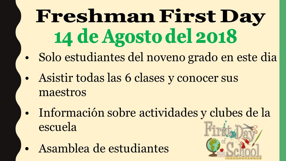 Freshman First Day power point slide (Spanish)