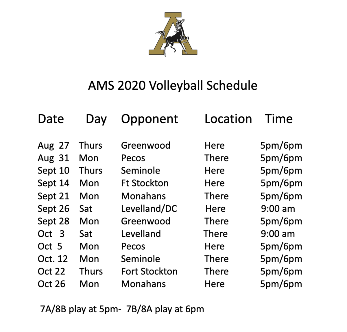 AMS Volleyball schedule