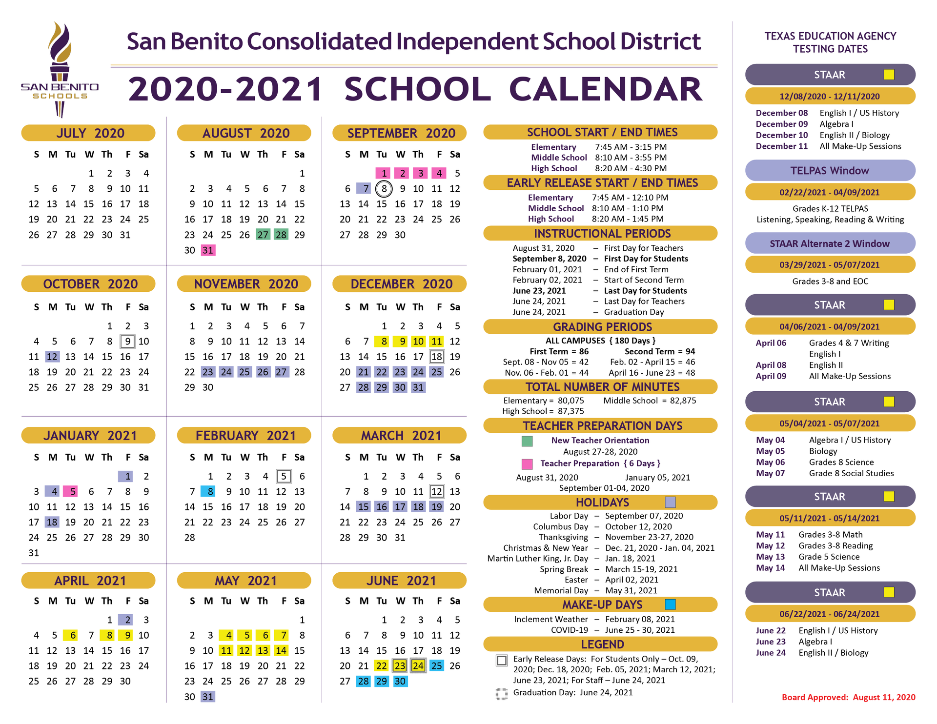 Sbisd Calendar 2021 School Calendar – District – San Benito Consolidated Independent