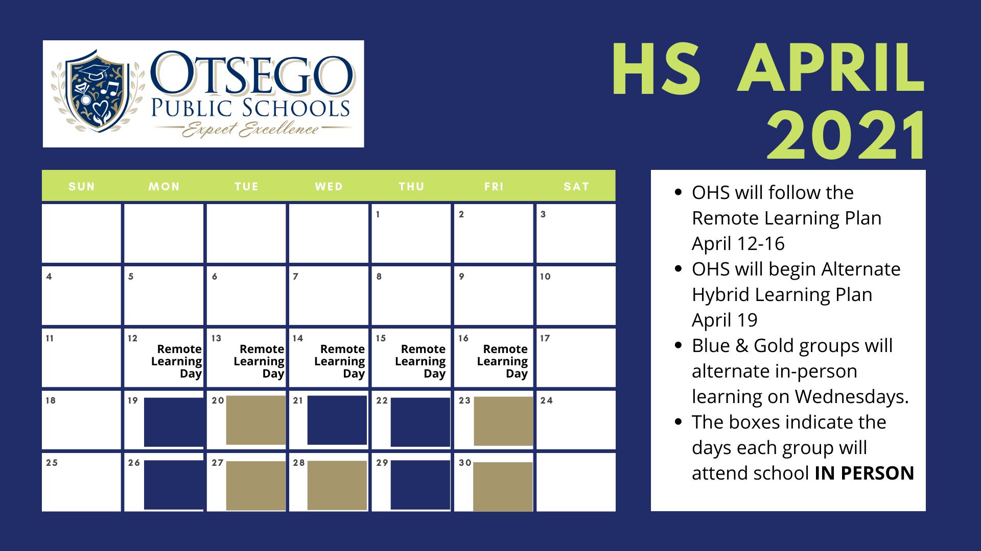 High school calendar view