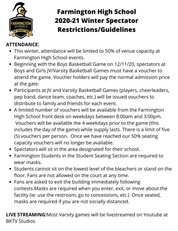 Farmington High School  2020-21 Winter Spectator Restrictions/Guidelines Featured Photo